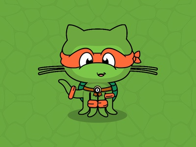 Octocat Ninja Turtle old school illustration ninja turtle octocat
