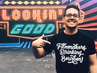 Filmmakers Drinking Bourbon Hand Lettered Shirt