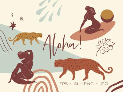 Aloha Vibes Summer Cartoon Set