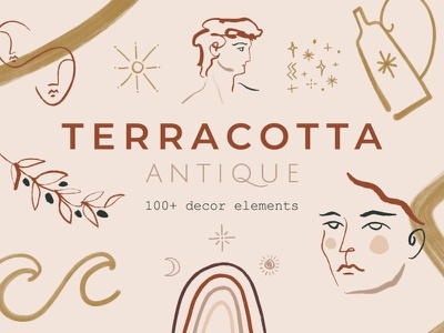 Terracotta Modern Abstract Greek Art greek shapes palette abstract boho terracotta pastel neutral modern vector illustration