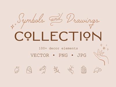 Magical Symbols & Drawings Set floral girl boho logo lineart terracotta pastel neutral modern vector illustration