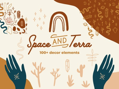 Space & Terra Modern Abstract Set shapes palette abstract boho terracotta pastel neutral modern vector illustration