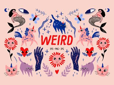 Cartoon Fantasy Characters Set doodles mermaid fairy tale cartoon animals doodle neutral modern vector illustration
