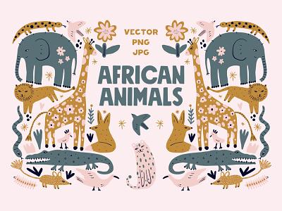 Safari Animals Kids Clipart Bundle clipart bundle set nursery animals terracotta pastel neutral modern vector illustration