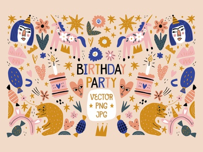 Baby Girl Birthday Party Decor Set