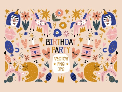 Baby Girl Birthday Party Decor Set abstract face collage girl birthday doodle boho pastel neutral modern vector illustration