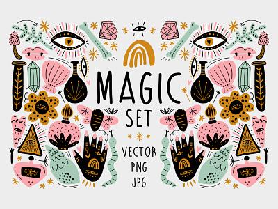 Vector Magic Witchcraft Elements Set fairytale magic witches witchcraft witchy witch girl boho pastel modern vector illustration
