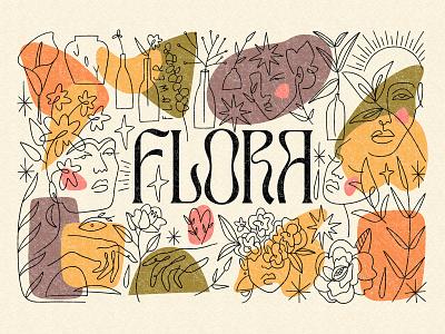 Flora Bundle home decor vintage aesthetic templates logo design floral minimalist hippie clipart abstract girl pastel boho neutral vector modern illustration bundle lineart line art