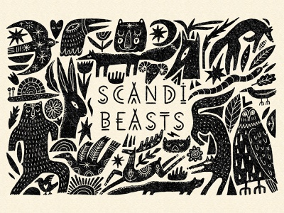 Scandi Beasts Bundle cute art stylized clipart design abstract illustrations folk vector set bundle cute bear fox sketch doodle simple boho animal art scandi scandinavian style
