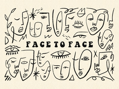Face To Face Bundle picasso faces vintage abstract pastel neutral modern boho