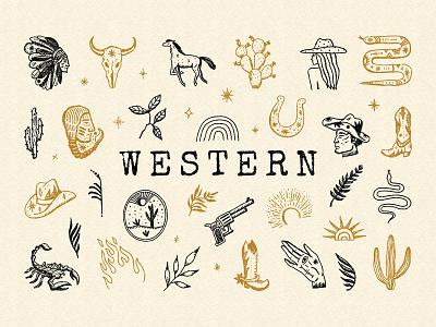 Western Bundle desert cowboy cacti folk antique vintage label logo western illustration boho vector