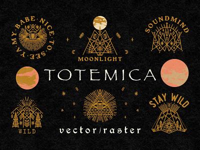 Totemica Bundle moon wild labels bundle vector vintage magical witchcraft astrology distressed logo design illustration boho