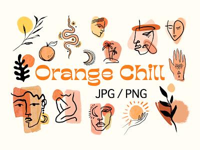 Orange Chill Bundle faces illustration boho