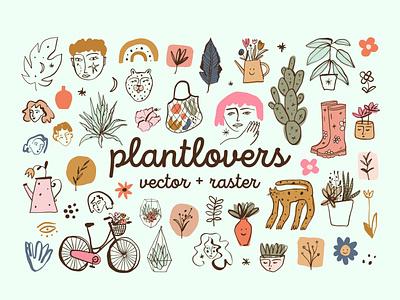 Plantlovers Bundle bundle cartoon vector modern illustration boho doodle plants stickers logo design abstract pastel