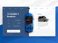 Lamborghini Aventador Roadster Web UI split cars branding sketch car ui