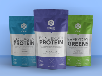 Everyday Stacks Brand Identity + Package Design workout supplements logo indesign 3d package design packaging branding