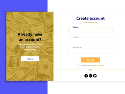 Sign in / Sign up web ux ui