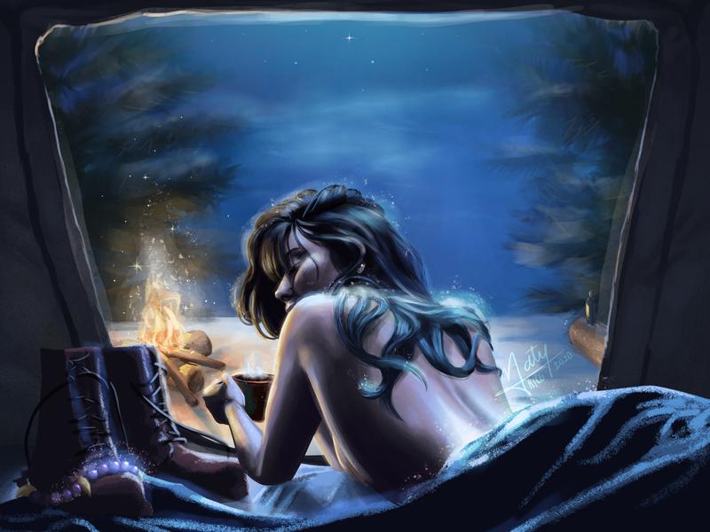 Camping Night artwork digital painting illustration