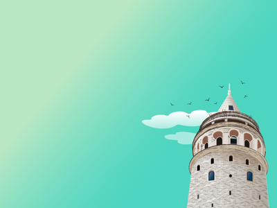 Galata Tower tourism turkey color illustrator design art drowning adobe illustraion