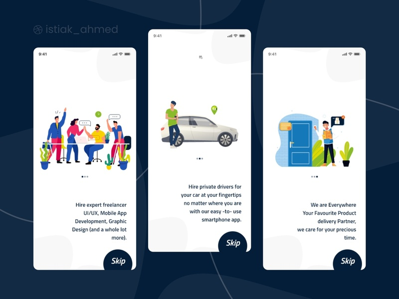 Onboarding Screen for on demand  App illustration illustrator online store trendy 2020 shot best shot green blue clean online material ui material onboarding screens ui trendy on demand app app mobile screen onboarding onboard onboarding screens