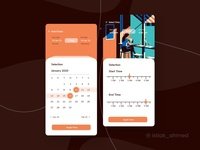 Date Time settings screen black brown ux app design ui seletion time and calendar time setup setting time calendar date and time time picker calendar ui time slot calendar ux design calendar ux calendar ui design psd calendar ui design