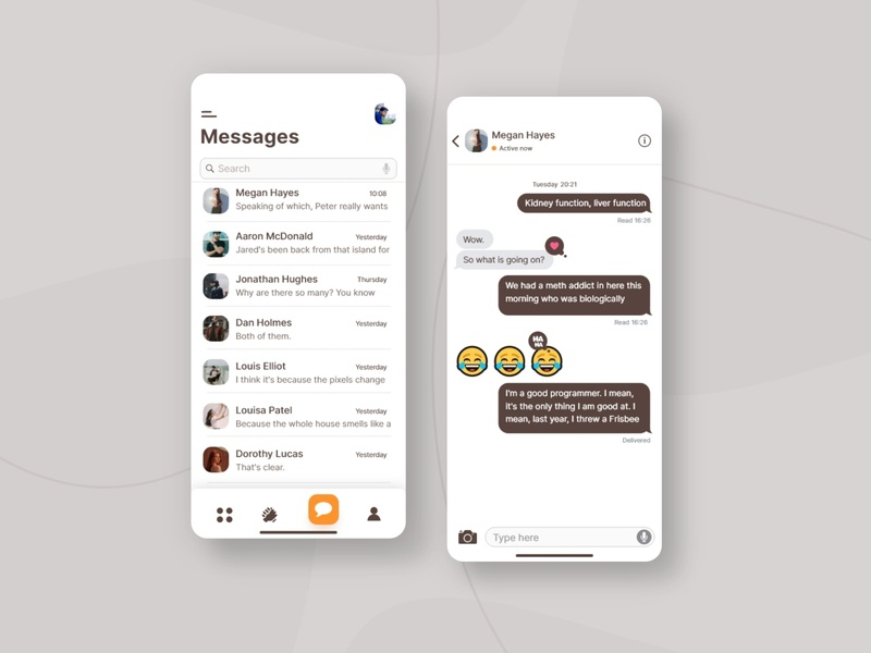 Chat app concept messaging app metal message messaging ui app design chat chat app dribbble best shot voice messages android ux users ui user mobile navigation minimal messeger ios message interface design floating button contacts