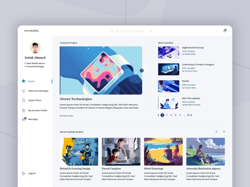 Investor home page - investorHut ui ux blogging site blog pagination trendty trend dashboard ui flow design flow message profile search pitch data flow manager funded invest landing page home page investor home page