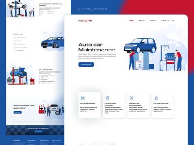 Auto Care Car Maintenance ui hero vector icon web flat website kit illustration character landing landing page car automotive repair dealership rent design