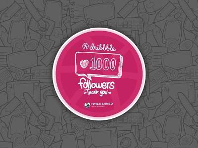 1000 Followers trend follow dribbble doodle doodles design art illustraion 1k 1000 followers ux ui clean