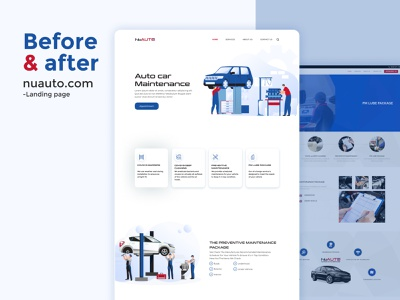 Auto Care Car Maintenance || Redesign illustration kit character car automotive repair dealership rent hero website before after redesign landing page design