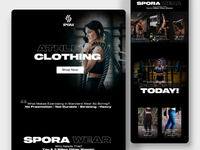 Fitness Clothing Landing page email template landing page website ui design ux design workout gym fitness health ui webdesign yoga weightloss training homepage bodybuilding fitness club coach lifestyle