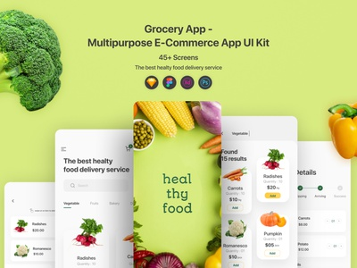 Grocery Delivery App - Full Project design delivery app delivery clean ux app card trendy trend stuff design store shop popular ui online shopping minimal green e-shop e-commerce fcommerce