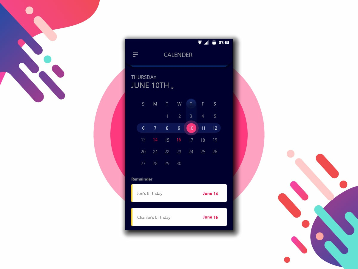 Android - Calendar App Concept by Istiak Ahmed on Dribbble