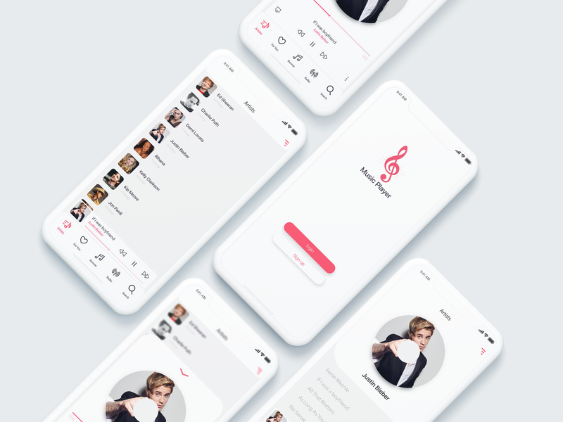 Music Player Concept Design white ux uplabs ui songs rehana red playlist players netflix music player music app music free download free download design clean behance app