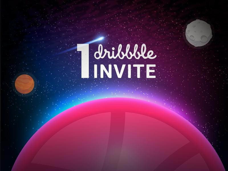 Dribbble invites - Galaxy concept app web flat identity vector logo website illustrator branding design interface mail 1 dribbble invitation 2d 3d gorgeous dribbble galaxy dribbble invite invite