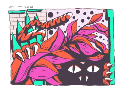 El Tigre tiger character graffiti drawing illustration