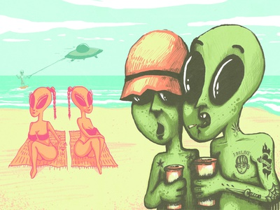 Aliens on Holiday water drawing kitesurf tattoo beach alien illustration