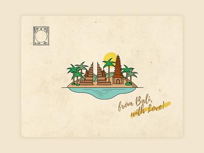 From Bali, with Love... illustration art love palmtree palm ocean water indonessia bali island beach sun texture weeklywarmup dribbbleweeklywarmup postcard design illustration graphicdesign dribbble design postcard