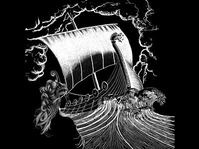 Shield Maiden VID wacom tempest nautical longship viking retail illustrator packagingdesign photoshop digital packaging drawing art design illustration