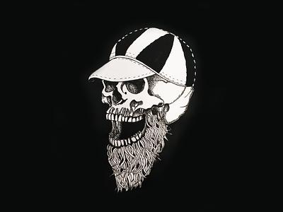 Skull Cap blackandwhite tattoo design tattoo surreal beard skull logo drawing digital art illustration design
