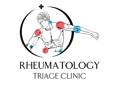 RTC Medical Logo sculpture greek male figure doctor rheumatology health medical vector typography illustrator logo digital art branding design illustration