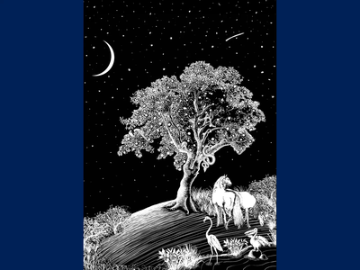 Eden Artwork wacom stars moon eden animal biblical tree packaging photoshop drawing digital art design illustration