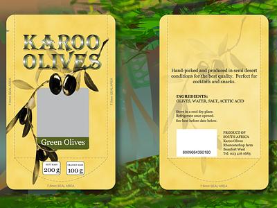 Karoo Olives packaging green olives retail food artdirection typography design illustration packagedesign packaging