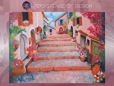 Pasos De Rosa flower italy landscape branding logo oil painting illustration design art