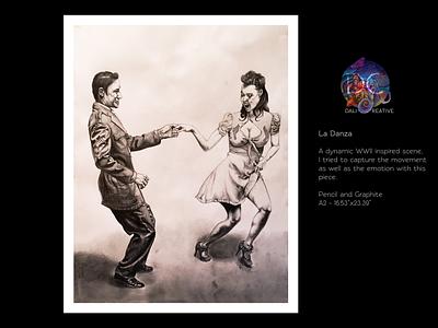 La Danza detail portrait graphite pencil couple dance wwii traditional art art drawing design illustration