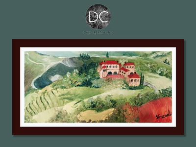 Tuscany Red oil on canvas italy red green painting art illustration design