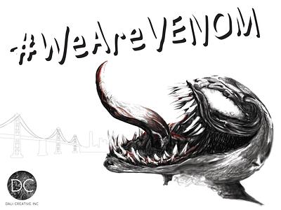 Venom WIP BW wearevenom adobeillustrator photoshop movieposter fan art digital illustration drawing digital design illustration
