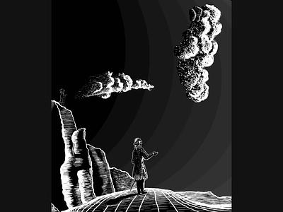 Illustration - Skygazer blackandwhite contrast gradient clouds photoshop vector packaging digital drawing design art illustration