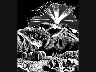 Illustration - In Awe Of blackandwhite contrast wacom linocut landscape detail photoshop packaging design drawing digital art illustration