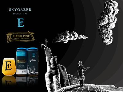 Skygazer - Beer Can retail artwork wacom intuos illustrator art graphicdesign photoshop packagingdesign branding drawing digital design illustration packaging